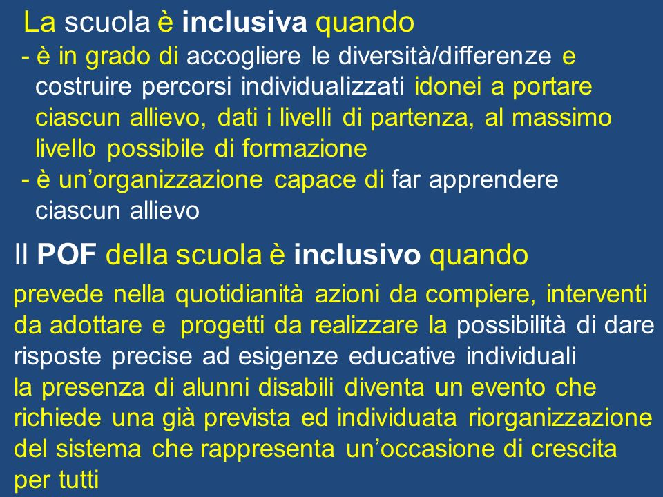 La scuola è inclusiva quando