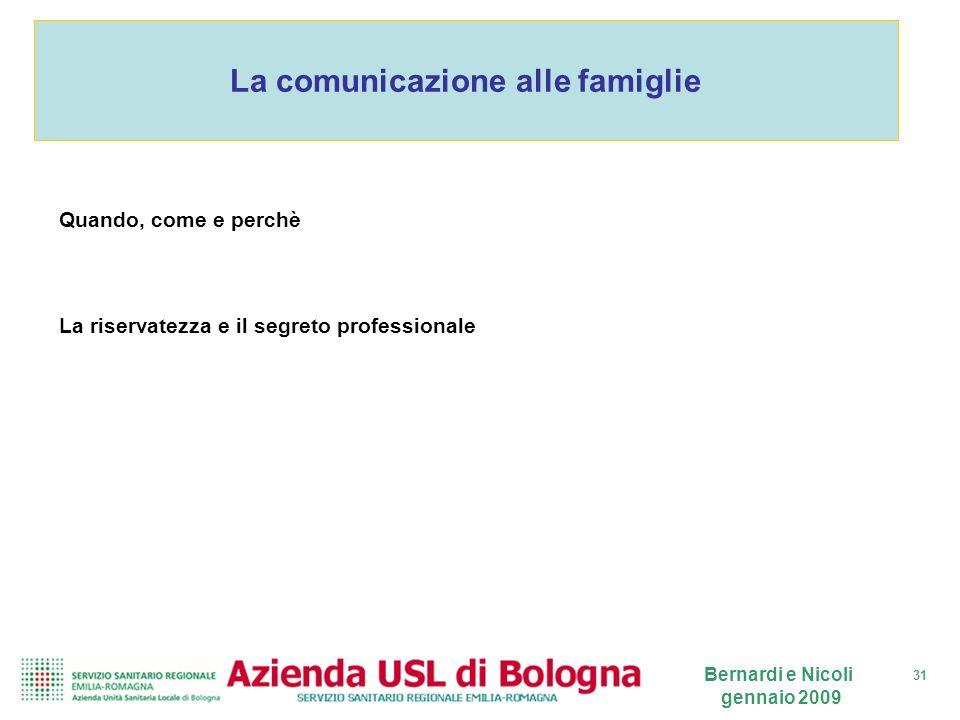 La comunicazione alle famiglie