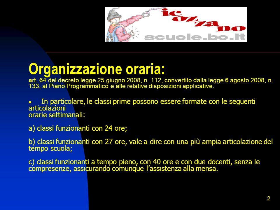 Organizzazione oraria: art. 64 del decreto legge 25 giugno 2008, n