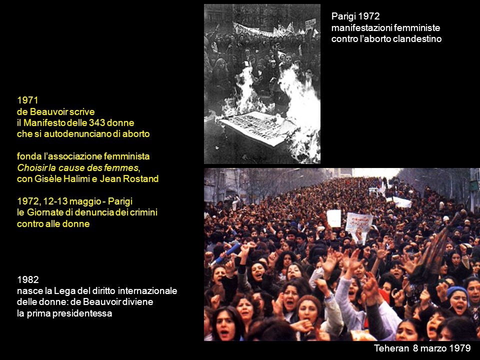 Parigi 1972 manifestazioni femministe. contro l'aborto clandestino. 1971. de Beauvoir scrive. il Manifesto delle 343 donne.
