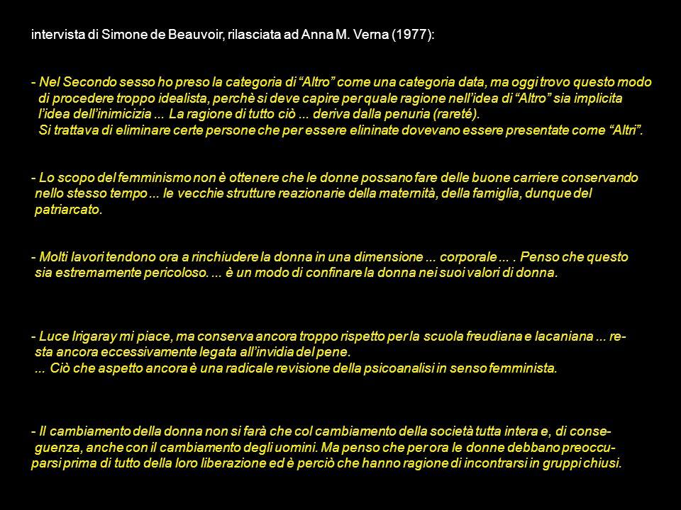 intervista di Simone de Beauvoir, rilasciata ad Anna M. Verna (1977):