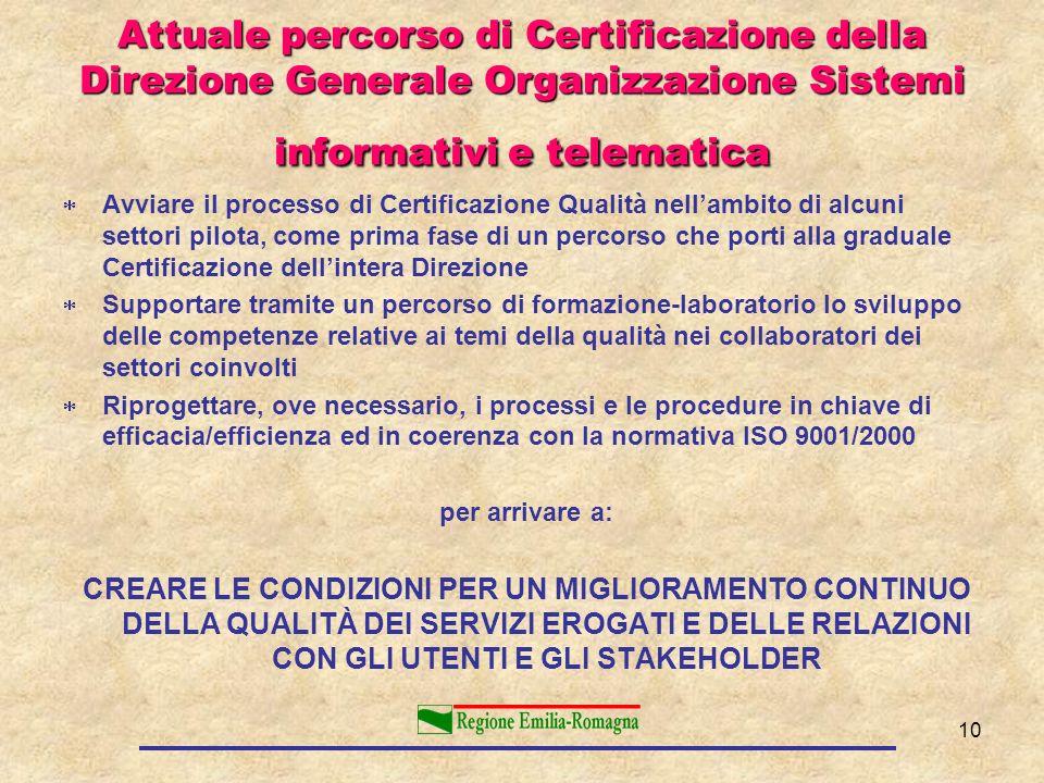 Attuale percorso di Certificazione della Direzione Generale Organizzazione Sistemi informativi e telematica