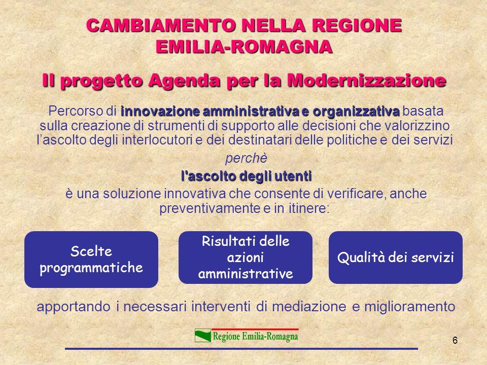 CAMBIAMENTO NELLA REGIONE EMILIA-ROMAGNA Il progetto Agenda per la Modernizzazione
