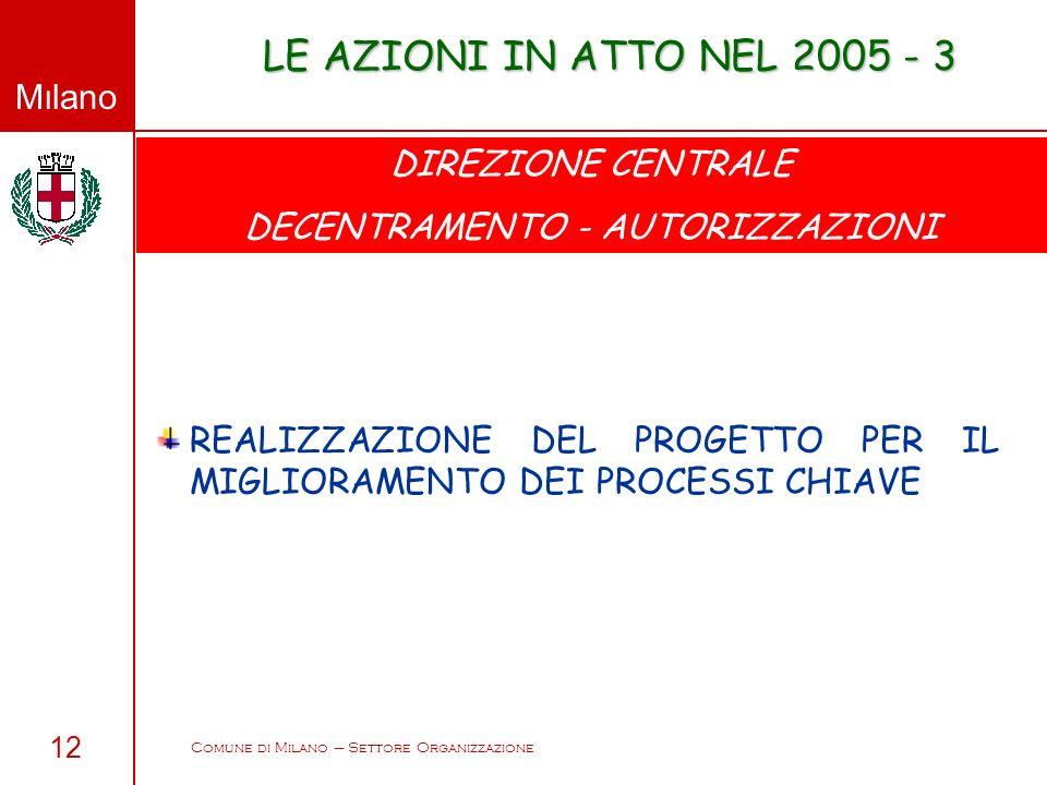 LE AZIONI IN ATTO NEL 2005 - 3 DIREZIONE CENTRALE