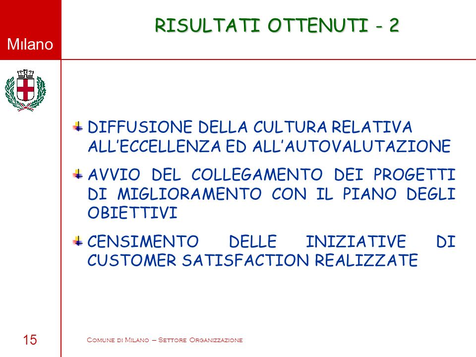 Comune di Milano – Settore Organizzazione