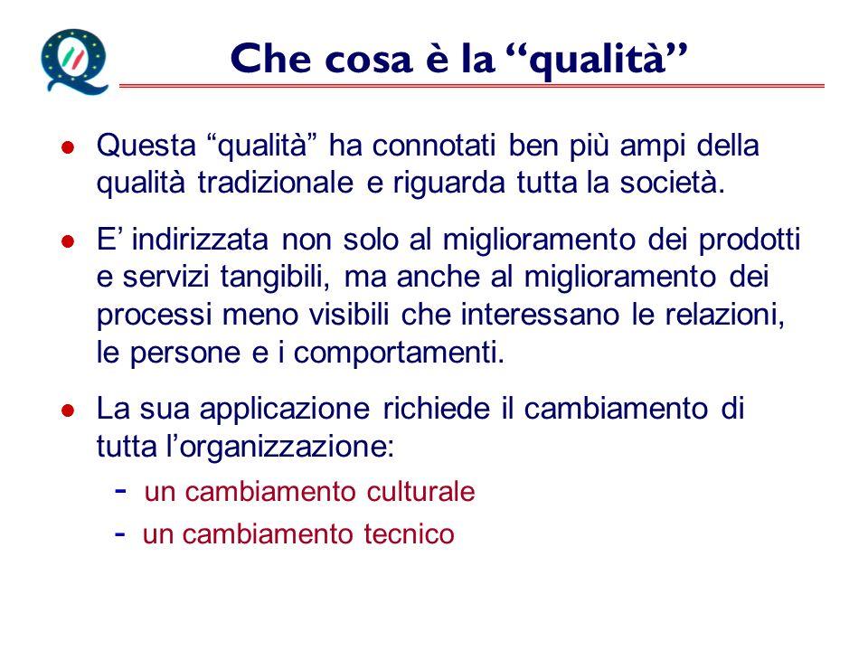 Che cosa è la qualità Questa qualità ha connotati ben più ampi della qualità tradizionale e riguarda tutta la società.