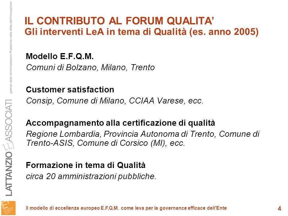 IL CONTRIBUTO AL FORUM QUALITA' Gli interventi LeA in tema di Qualità (es. anno 2005)