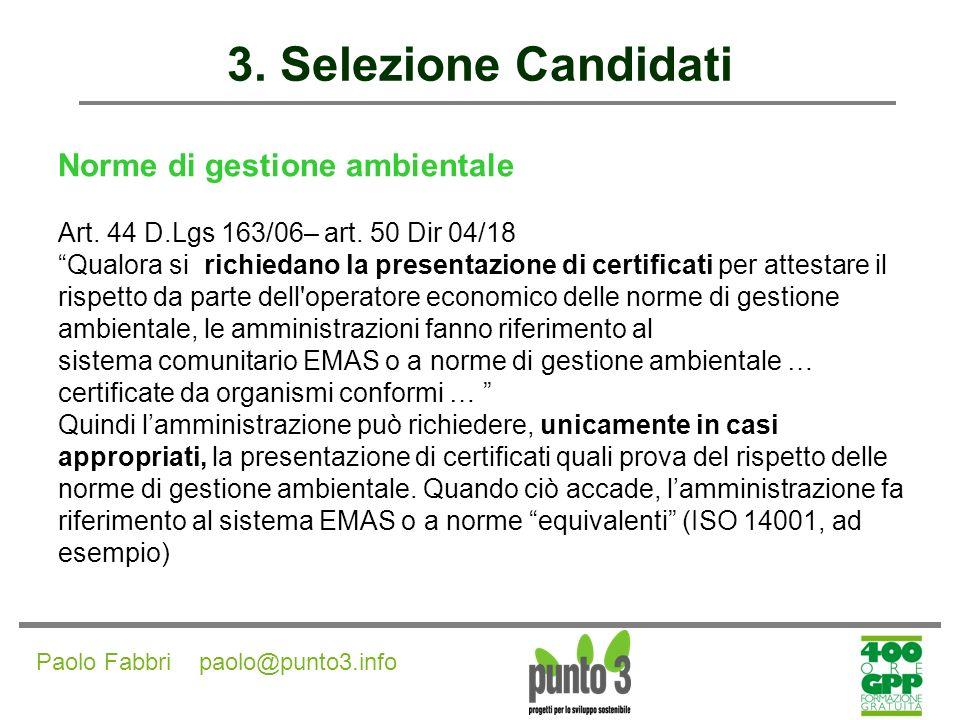 3. Selezione Candidati Norme di gestione ambientale