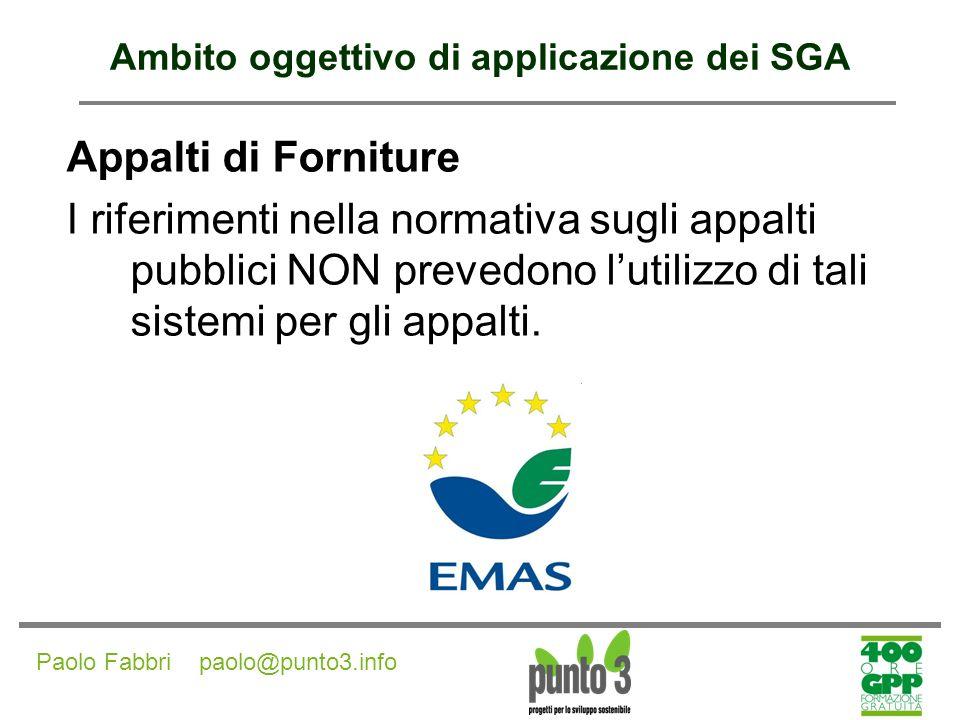 Ambito oggettivo di applicazione dei SGA