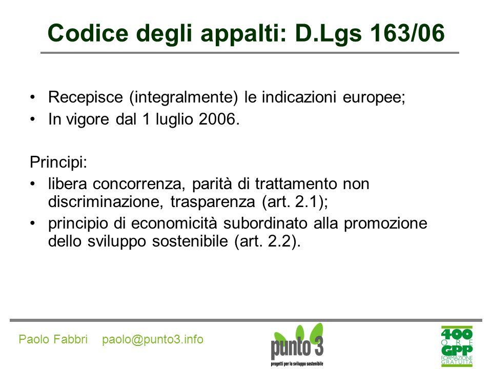 Codice degli appalti: D.Lgs 163/06
