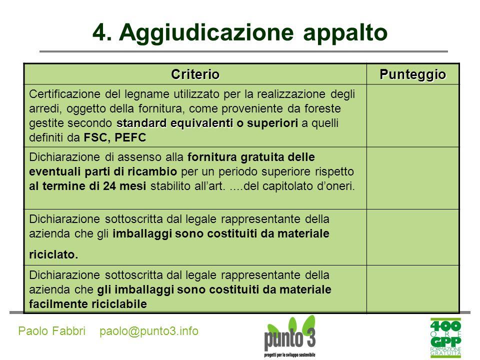 4. Aggiudicazione appalto