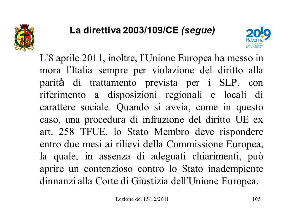 La direttiva 2003/109/CE (segue)