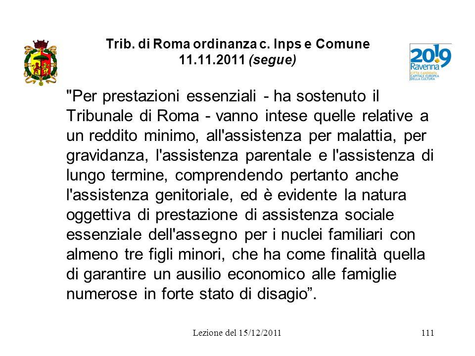 Trib. di Roma ordinanza c. Inps e Comune 11.11.2011 (segue)