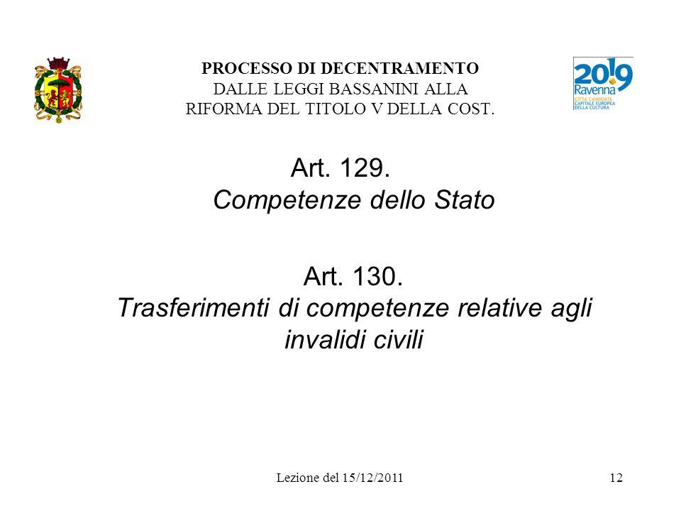 Art. 129. Competenze dello Stato