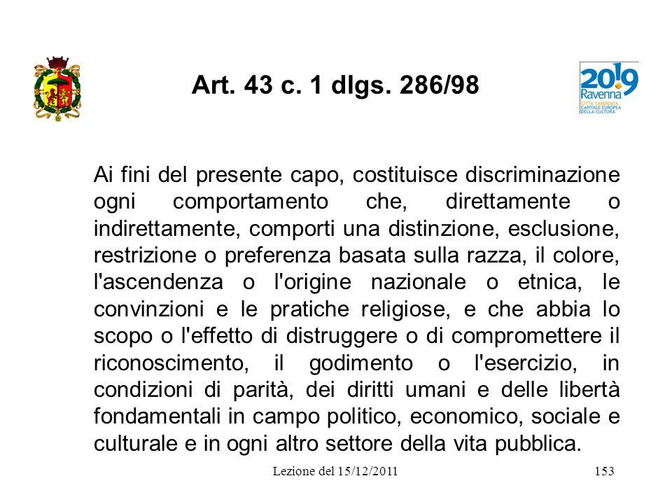 Art. 43 c. 1 dlgs. 286/98