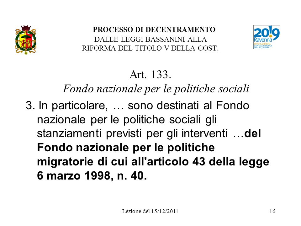 Art. 133. Fondo nazionale per le politiche sociali
