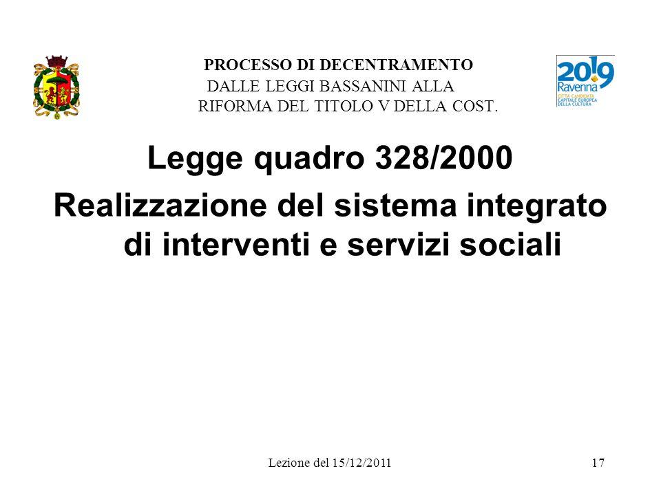 Realizzazione del sistema integrato di interventi e servizi sociali