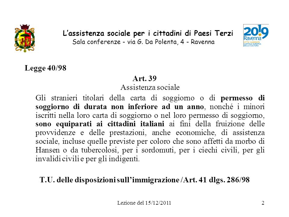 Art. 39 Assistenza sociale