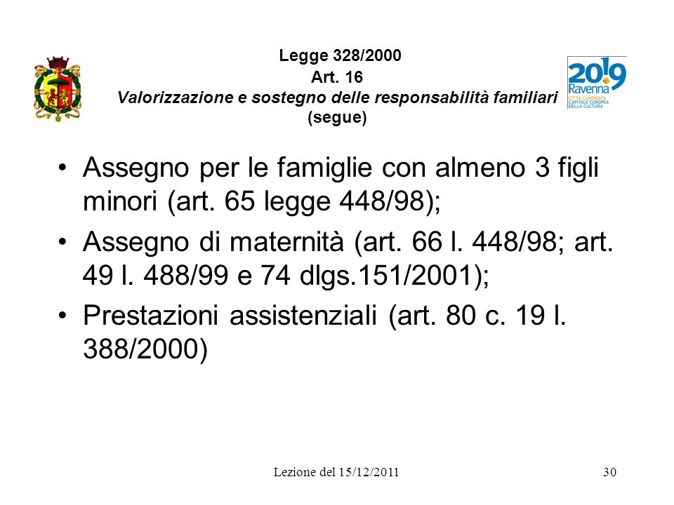 Prestazioni assistenziali (art. 80 c. 19 l. 388/2000)