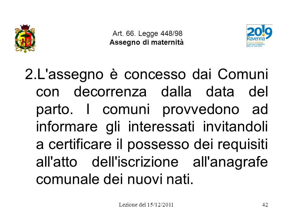 Art. 66. Legge 448/98 Assegno di maternità