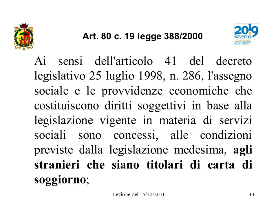 Art. 80 c. 19 legge 388/2000