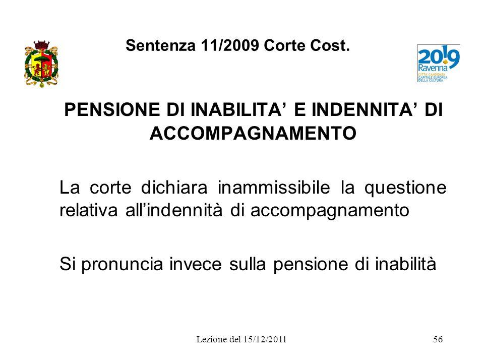 PENSIONE DI INABILITA' E INDENNITA' DI ACCOMPAGNAMENTO