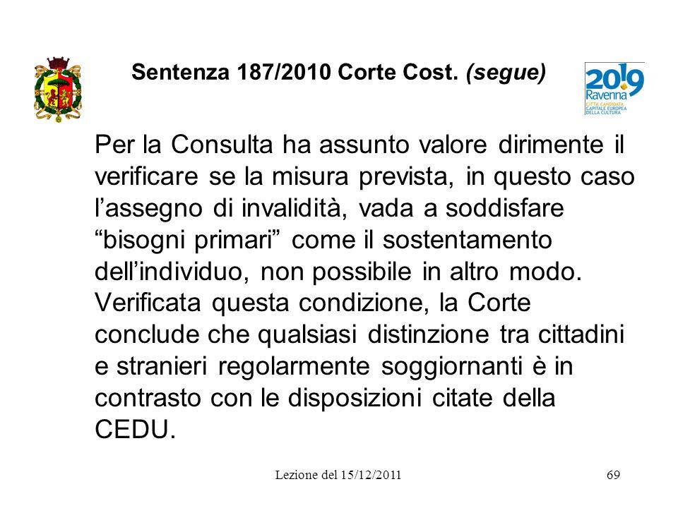 Sentenza 187/2010 Corte Cost. (segue)