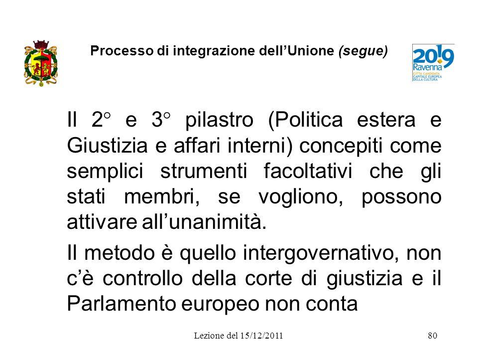Processo di integrazione dell'Unione (segue)