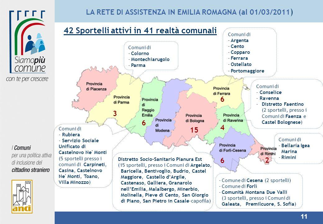 LA RETE DI ASSISTENZA IN EMILIA ROMAGNA (al 01/03/2011)