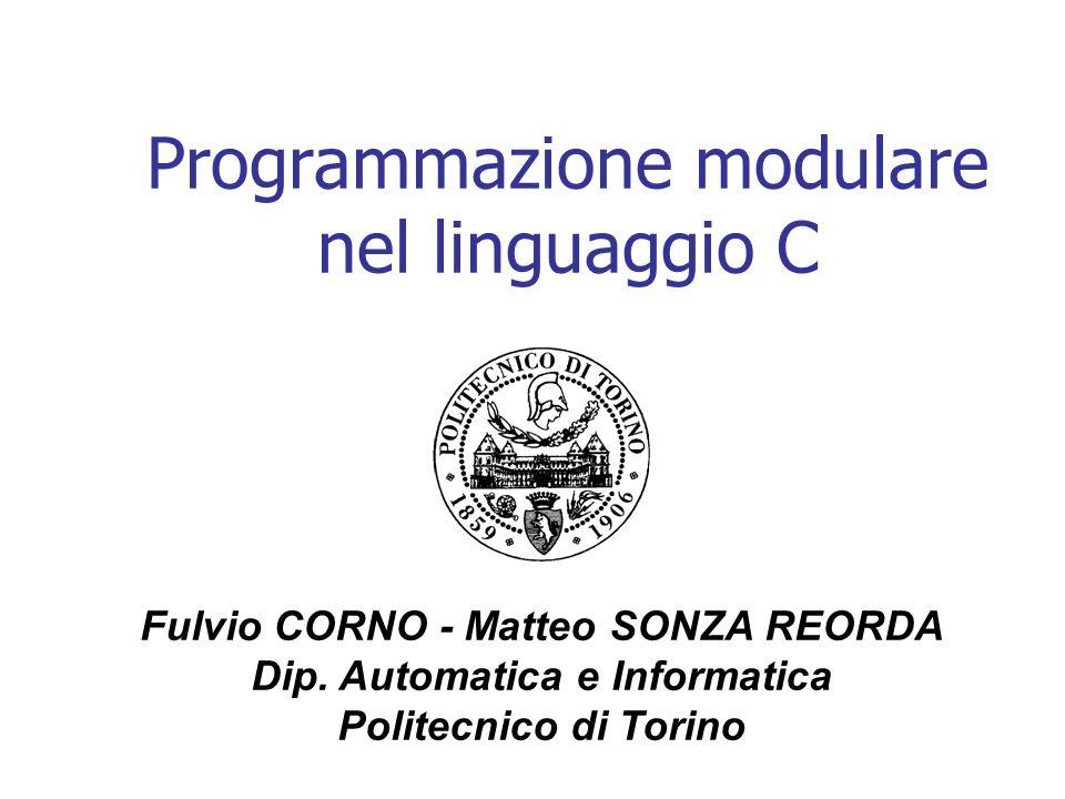 Programmazione modulare nel linguaggio C