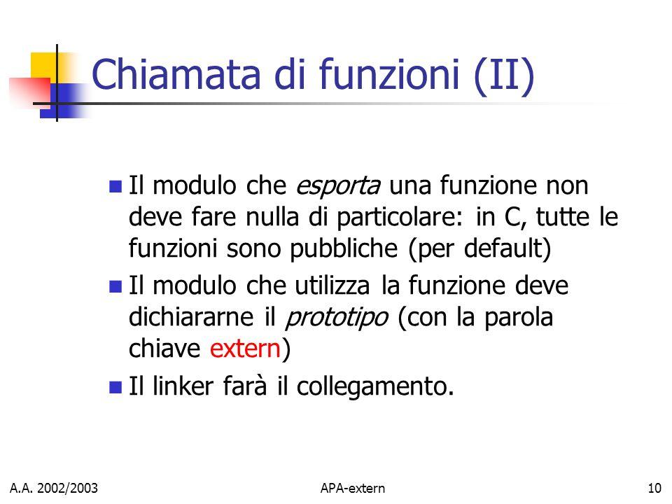 Chiamata di funzioni (II)