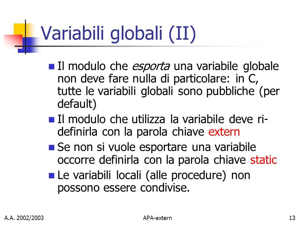 Variabili globali (II)