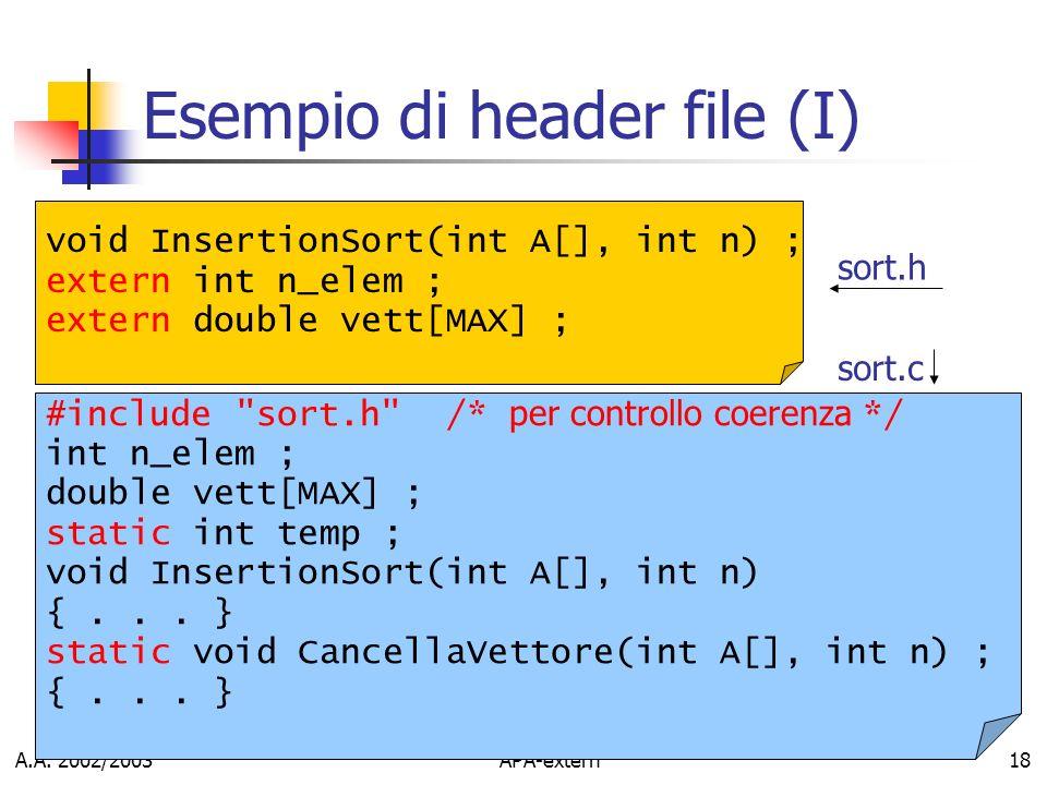 Esempio di header file (I)