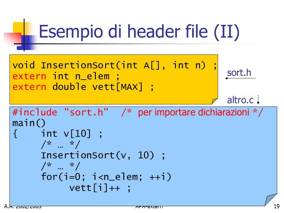 Esempio di header file (II)