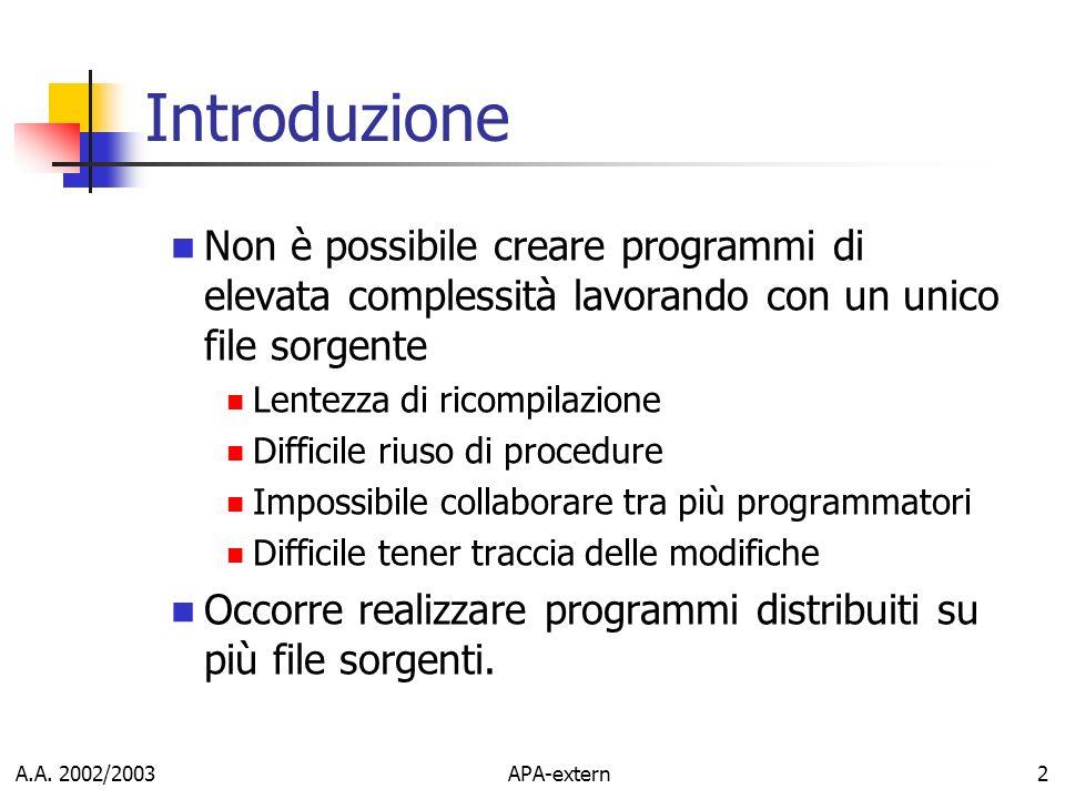Introduzione Non è possibile creare programmi di elevata complessità lavorando con un unico file sorgente.