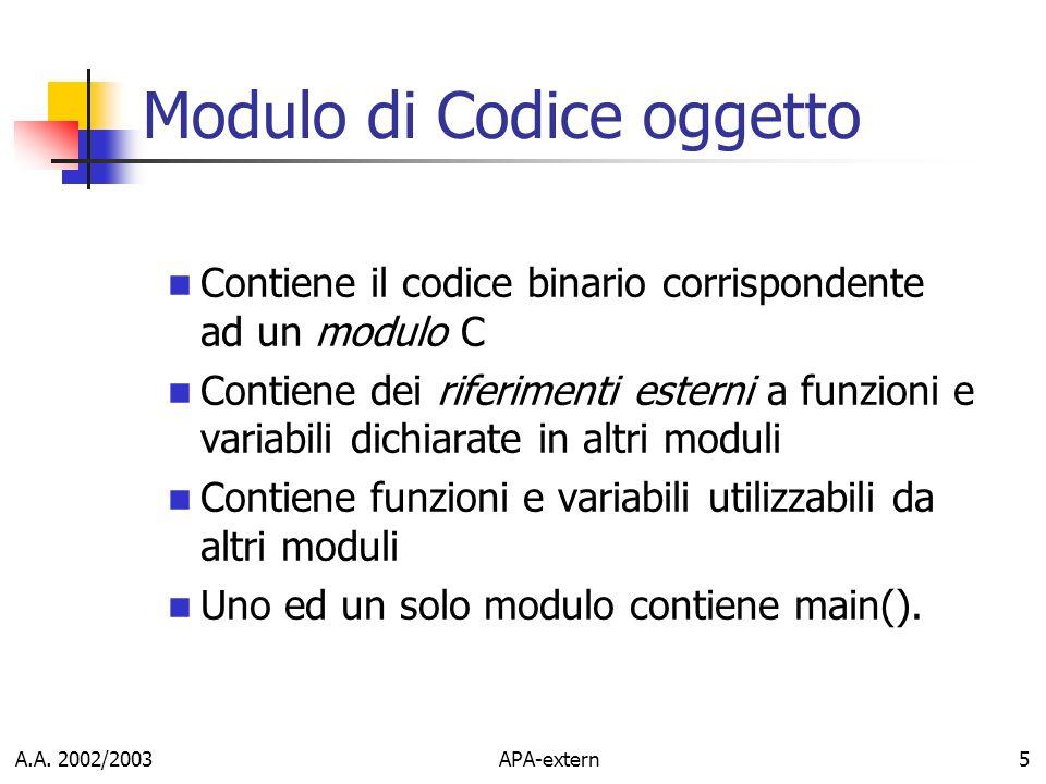 Modulo di Codice oggetto