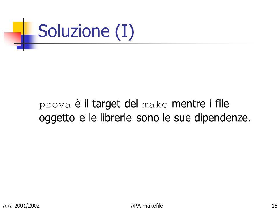 Soluzione (I) prova è il target del make mentre i file oggetto e le librerie sono le sue dipendenze.
