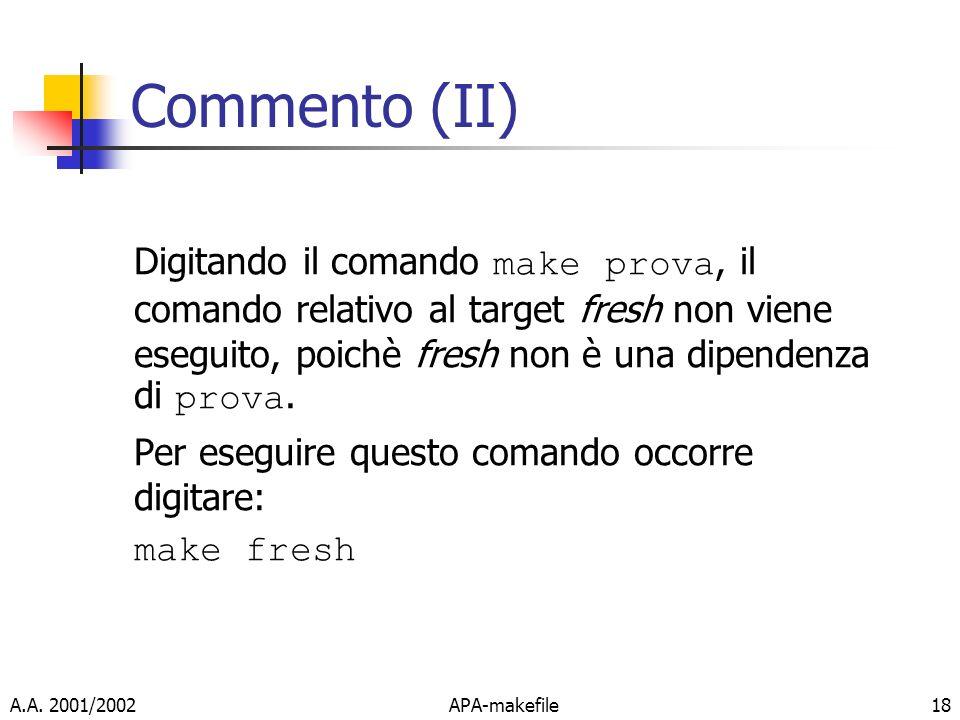 Commento (II)Digitando il comando make prova, il comando relativo al target fresh non viene eseguito, poichè fresh non è una dipendenza di prova.