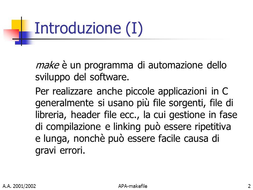 Introduzione (I) make è un programma di automazione dello sviluppo del software.