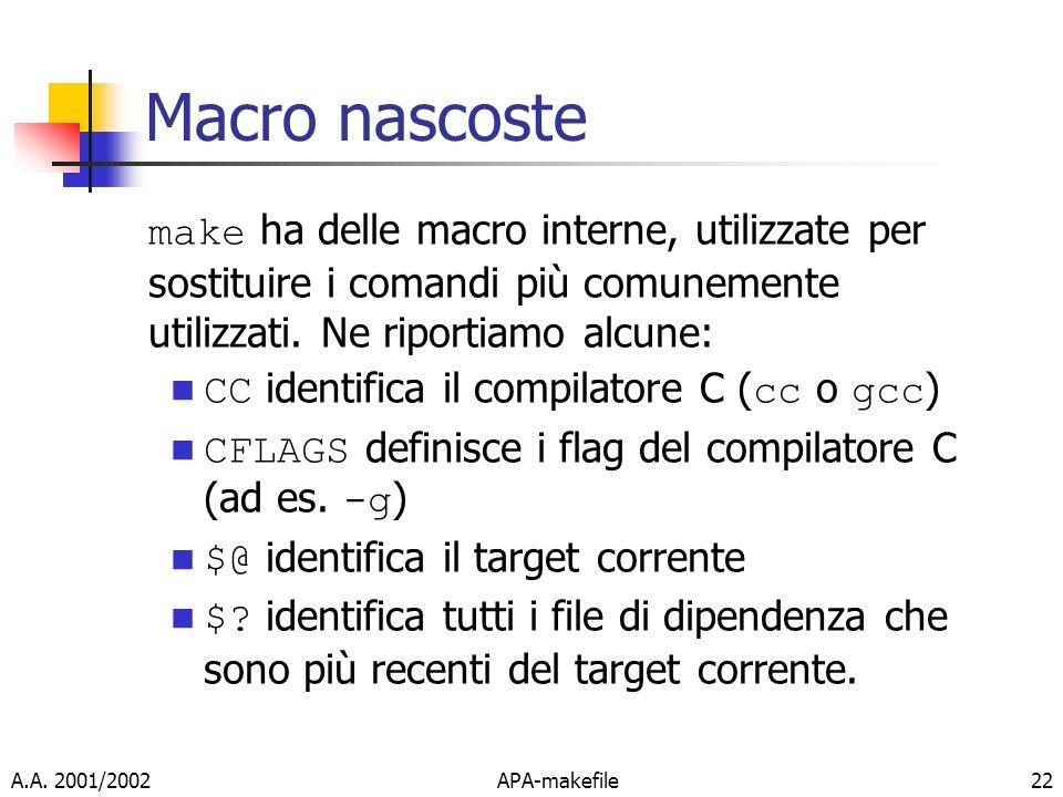 Macro nascostemake ha delle macro interne, utilizzate per sostituire i comandi più comunemente utilizzati. Ne riportiamo alcune: