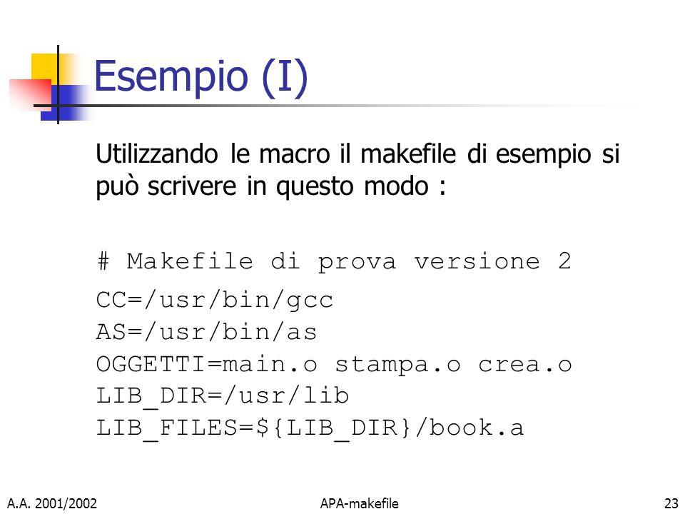Esempio (I) Utilizzando le macro il makefile di esempio si può scrivere in questo modo : # Makefile di prova versione 2.