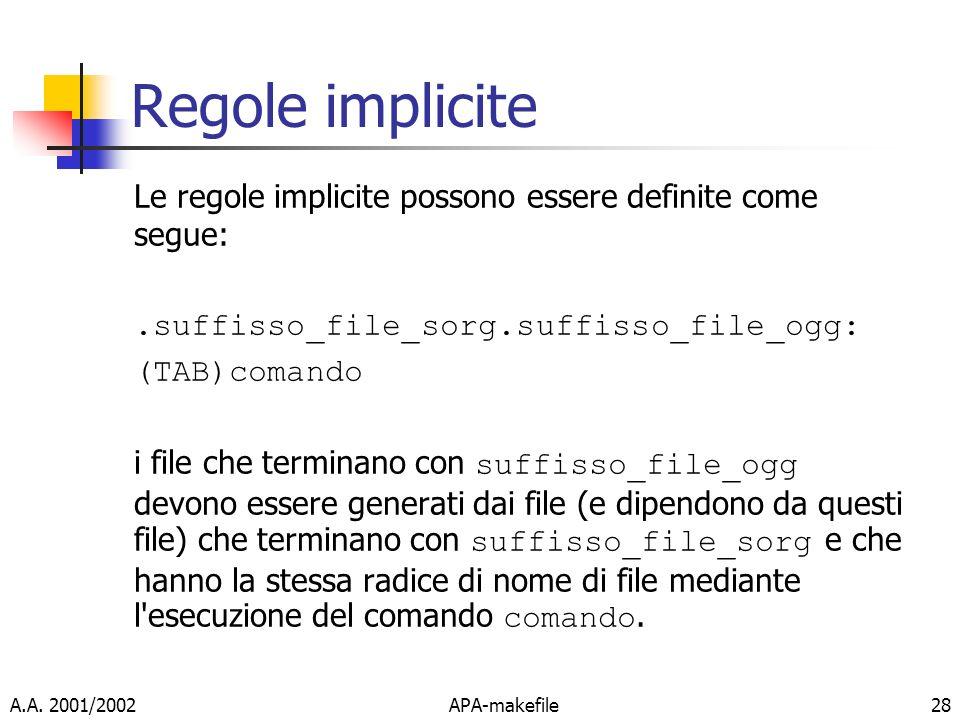 Regole implicite Le regole implicite possono essere definite come segue: .suffisso_file_sorg.suffisso_file_ogg: