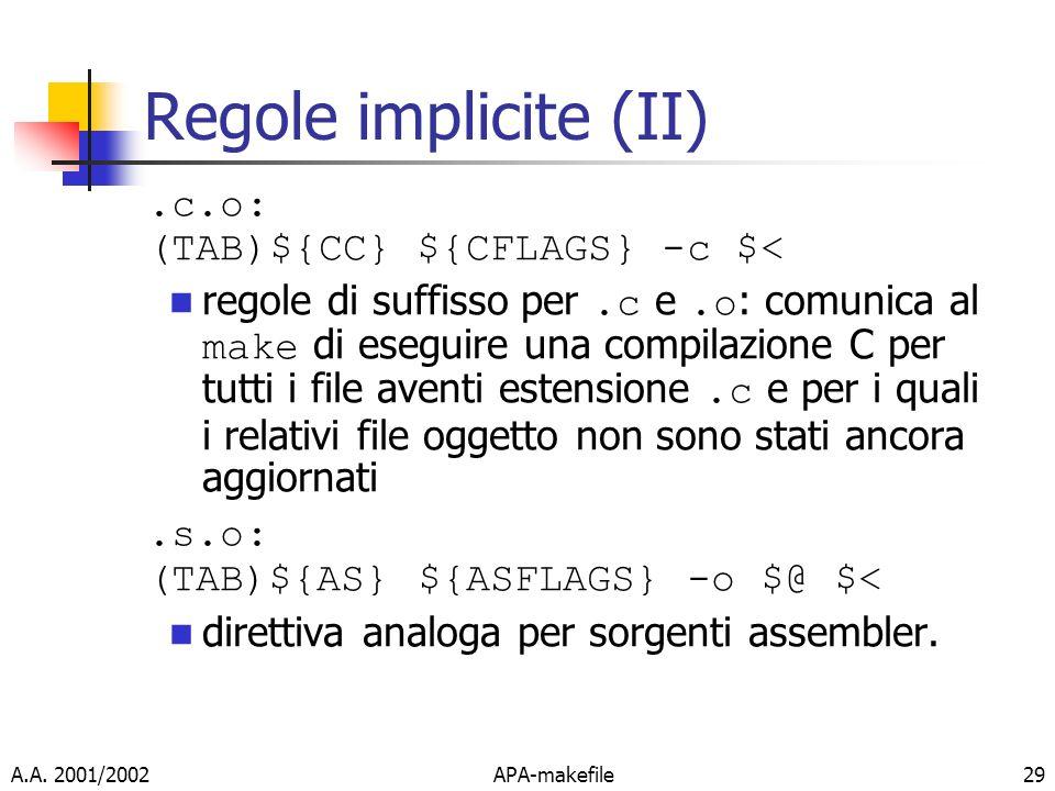 Regole implicite (II) .c.o: (TAB)${CC} ${CFLAGS} -c $<