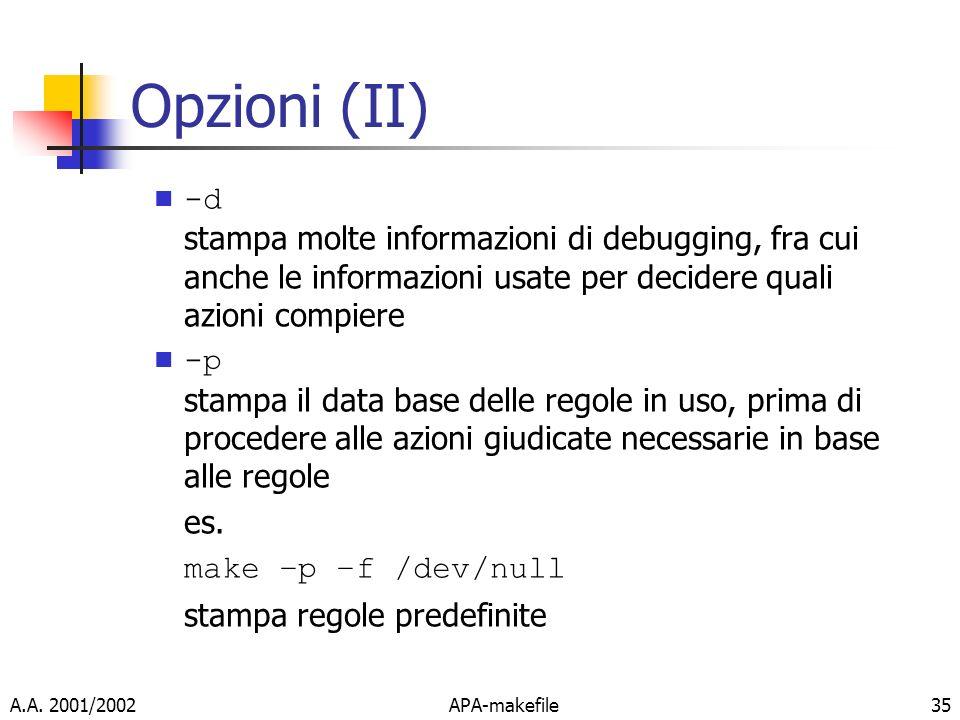 Opzioni (II)-d stampa molte informazioni di debugging, fra cui anche le informazioni usate per decidere quali azioni compiere.