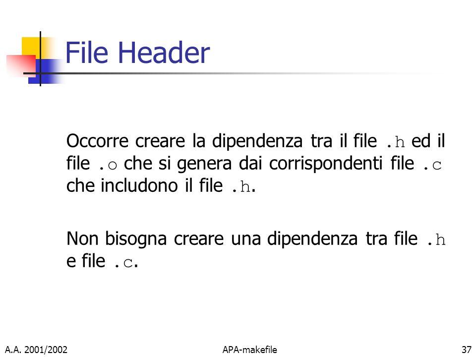 File Header Occorre creare la dipendenza tra il file .h ed il file .o che si genera dai corrispondenti file .c che includono il file .h.