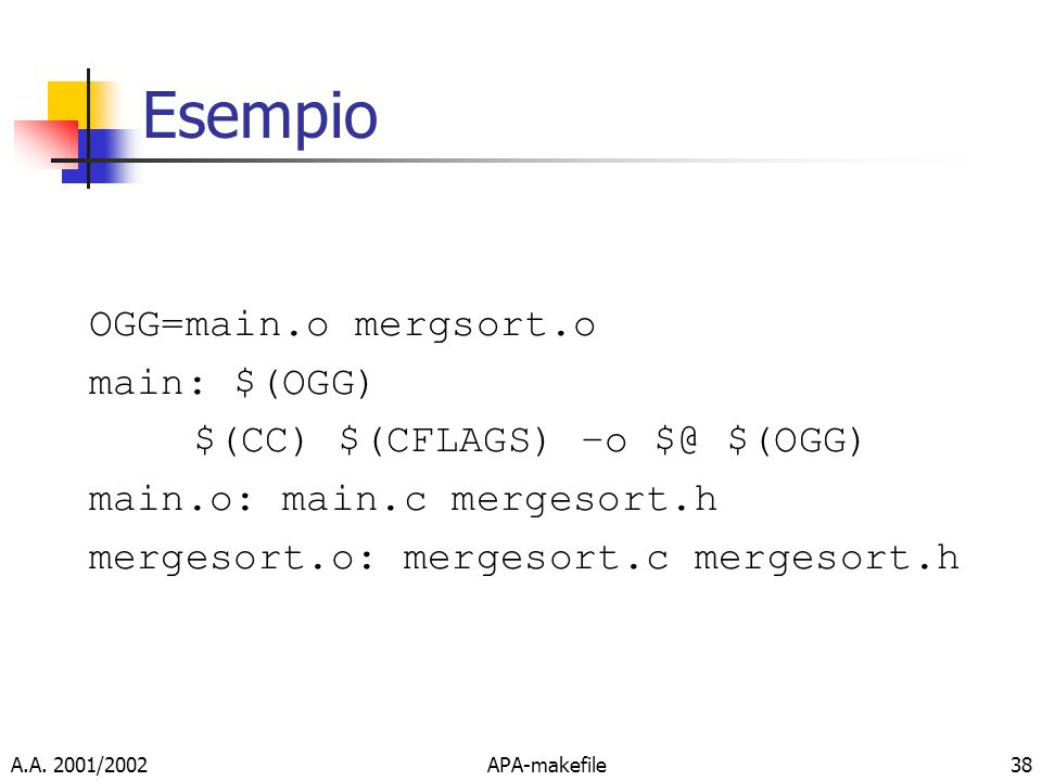 Esempio OGG=main.o mergsort.o main: $(OGG)