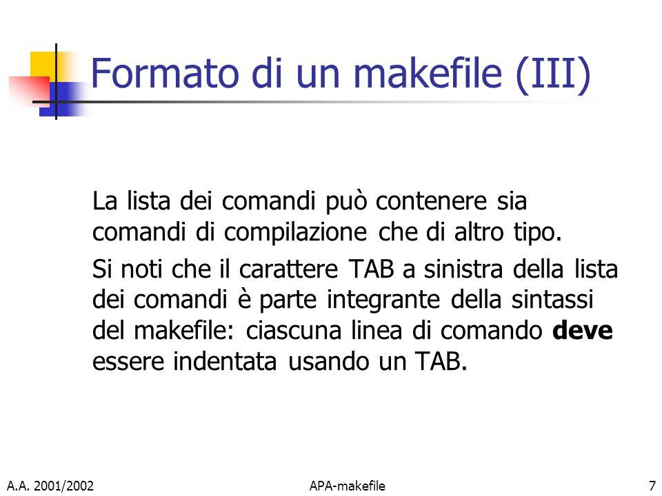 Formato di un makefile (III)