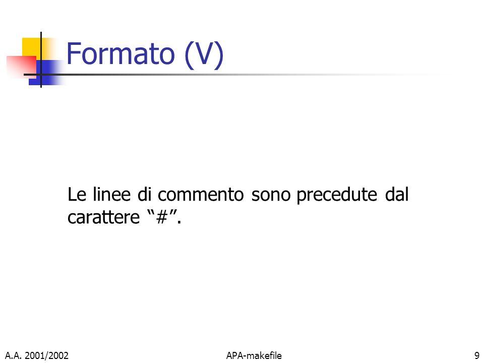 Formato (V) Le linee di commento sono precedute dal carattere # .