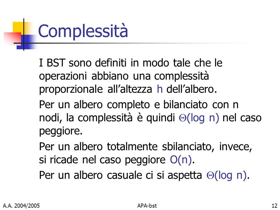 Complessità I BST sono definiti in modo tale che le operazioni abbiano una complessità proporzionale all'altezza h dell'albero.