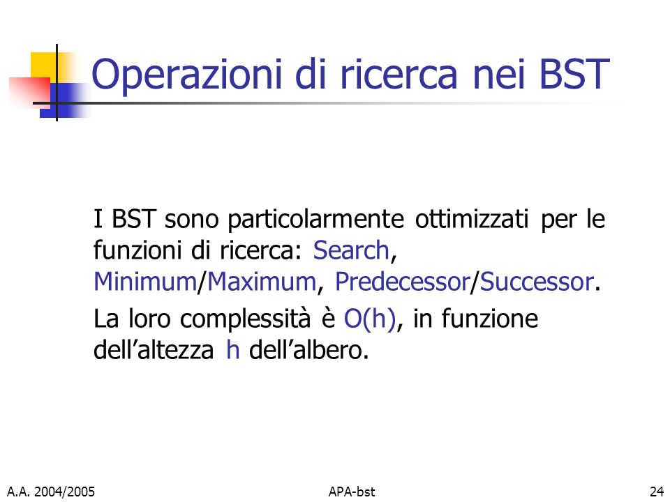 Operazioni di ricerca nei BST